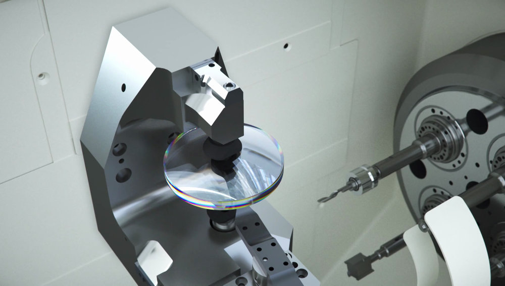 <p>The shape of the lens is cut using the latest technology. The process is almost fully computerized allowing for the most precise lenses. However, local technicians must operate the equipment with great care and understanding.</p>